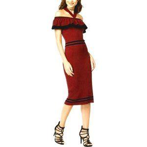 XOXO Ribbed Knit Ruffled Halter Striped Dress